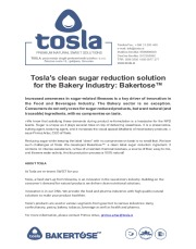 Tosla's clean sugar reduction solution for the Bakery Industry: Bakertose™