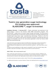 Tosla's new generation sugar technology EU funding was approved: SLADCORE™, sugar re-invented