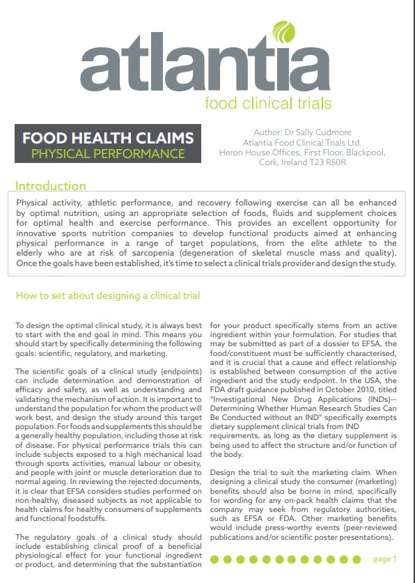 Food Health claims physical performance