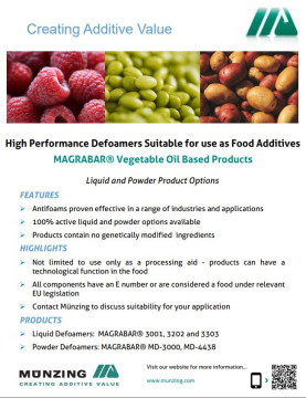 High Performance Defoamers for use as Food Additives