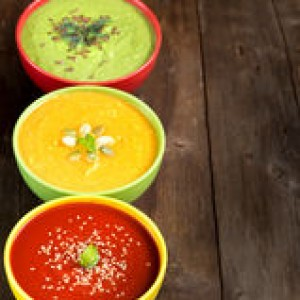 three-fresh-soups-wooden-table-tomatoe-pumpkin-green-peas-45599218